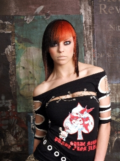 "Model: Hayley Bird, make up by Hayley Bird, ""L'Oreal Proffesionel Colour Trophy Winning Photo, girl in Japanese visual kei styled wardrobe"" photographed by Mark Curtis."